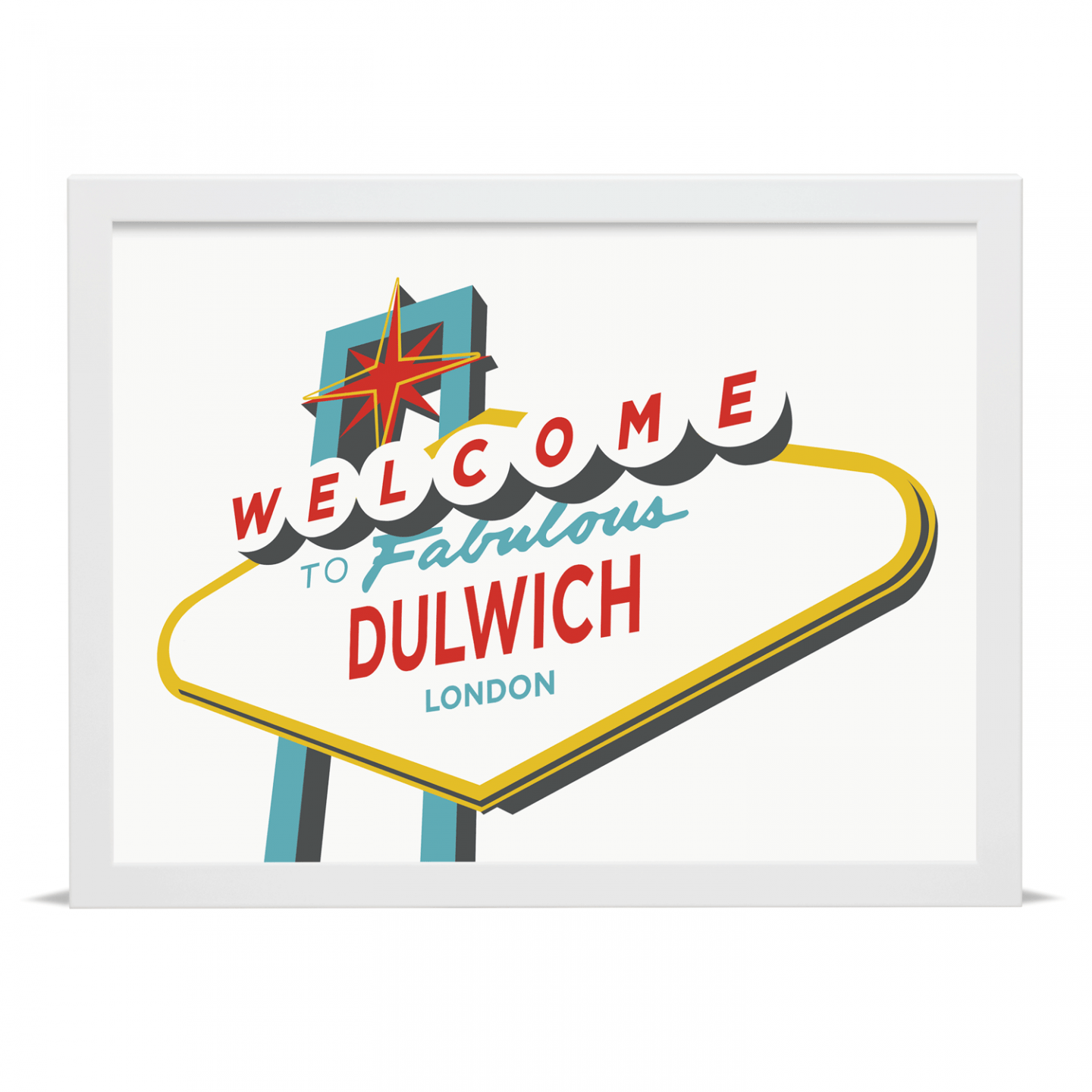Place in Print Welcome to Fabulous Dulwich Vegas Sign Art Print