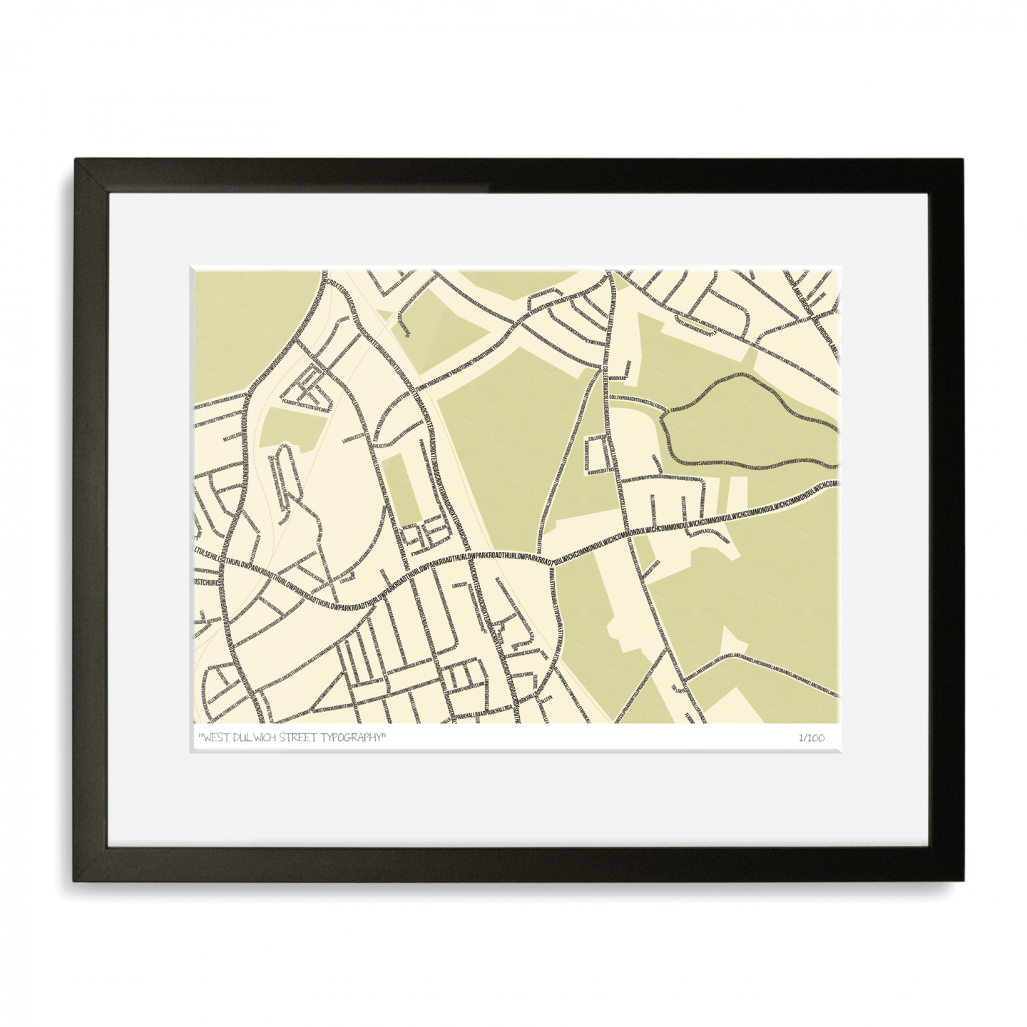West Dulwich Street Typography Map Art Poster Print
