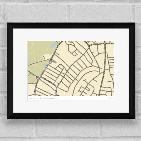 Abbeville Village Street Typography Map Art Poster Print Black Frame