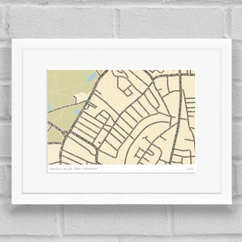 Abbeville Village Street Typography Map Art Poster Print White Frame