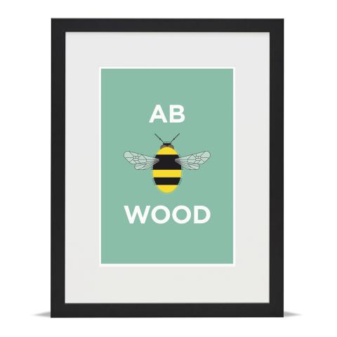 Place in Print Pate Abbey Wood Neighbourhood Pun Art Print Black Frame