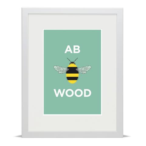 Place in Print Pate Abbey Wood Neighbourhood Pun Art Print White Frame
