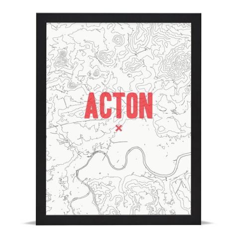 Place in Print Acton Contours Red Art Print Black Frame