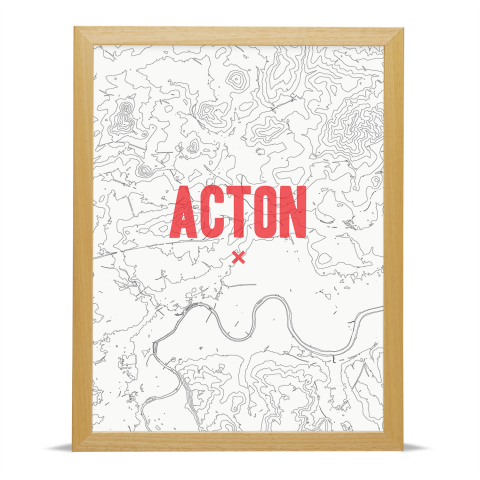 Place in Print Acton Contours Red Art Print Wood Frame