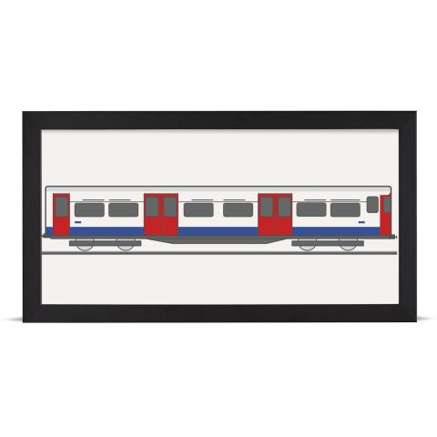 Place in Print Bakerloo Line 1972 Stock Train Back Section Art Print Black Frame