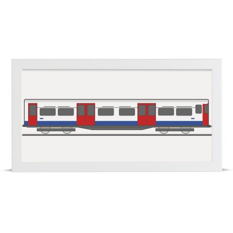 Place in Print Bakerloo Line 1972 Stock Train Back Section Art Print White Frame