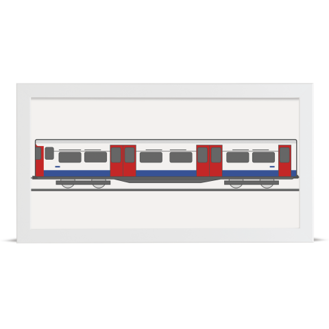 Place in Print Bakerloo Line 1972 Stock Train Front Section Art Print White Frame