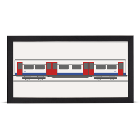 Place in Print Bakerloo Line 1972 Stock Train Middle Section Art Print Black Frame