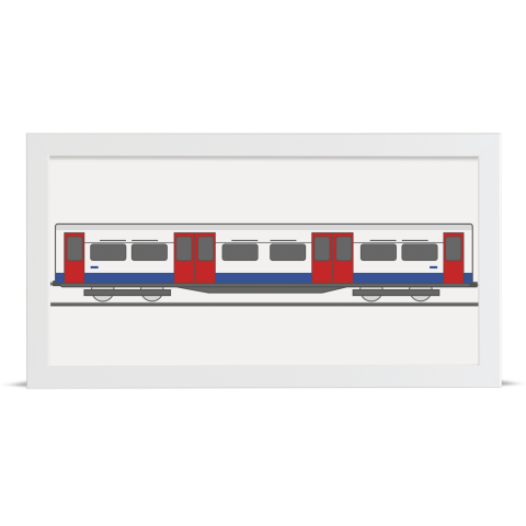 Place in Print Bakerloo Line 1972 Stock Train Middle Section Art Print White Frame