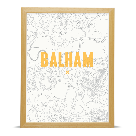 Place in Print Balham Contour Map Art Print Gold Wood Frame
