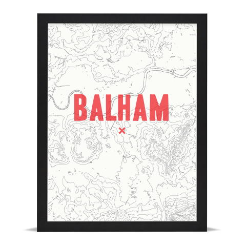Place in Print Balham Contour Map Art Print Red Black Frame