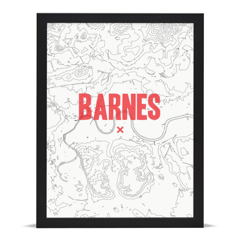 Place in Print Barnes Contours Red Art Print Black Frame