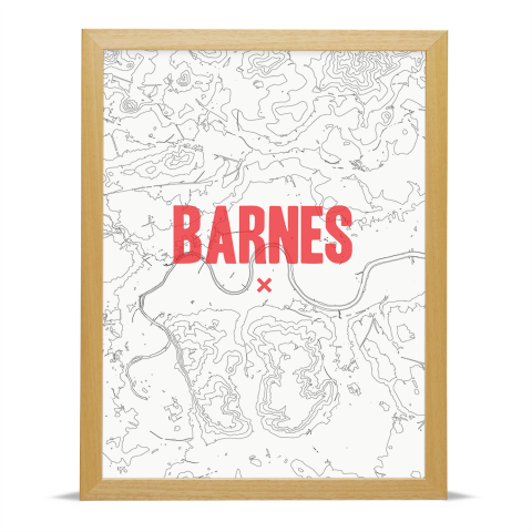 Place in Print Barnes Contours Red Art Print Wood Frame