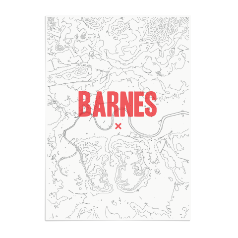 Place in Print Barnes Contours Red Art Print Unframed