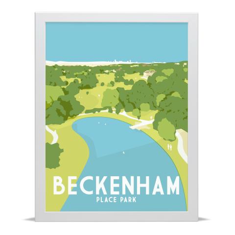 Place in Print Beckenham Place Park Art Print Illustration White Frame