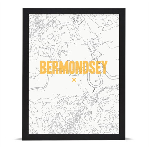 Place in Print Bermondsey Contours Gold Art Print Black Frame