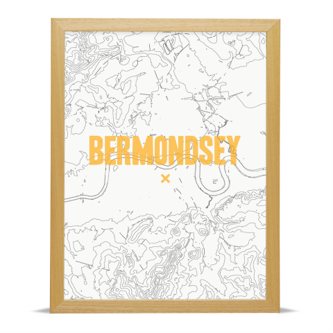 Place in Print Bermondsey Contours Gold Art Print Wood Frame
