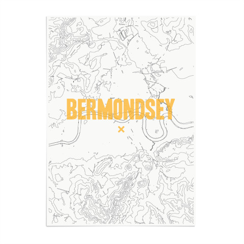 Place in Print Bermondsey Contours Gold Art Print Unframed