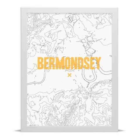 Place in Print Bermondsey Contours Gold Art Print White Frame