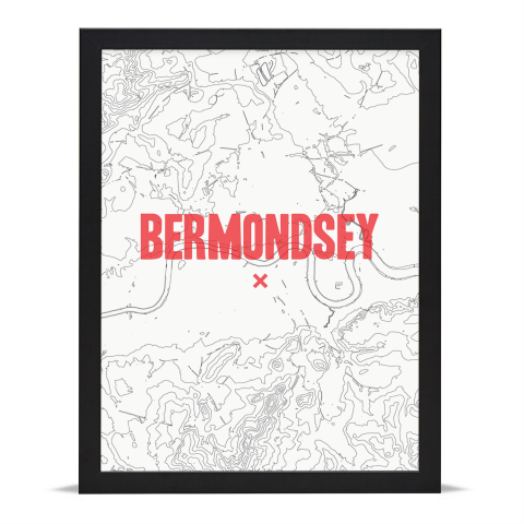 Place in Print Bermondsey Contours Red Art Print Black Frame
