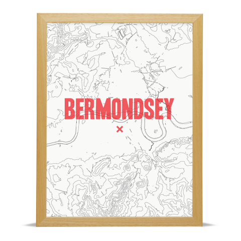 Place in Print Bermondsey Contours Red Art Print Wood Frame