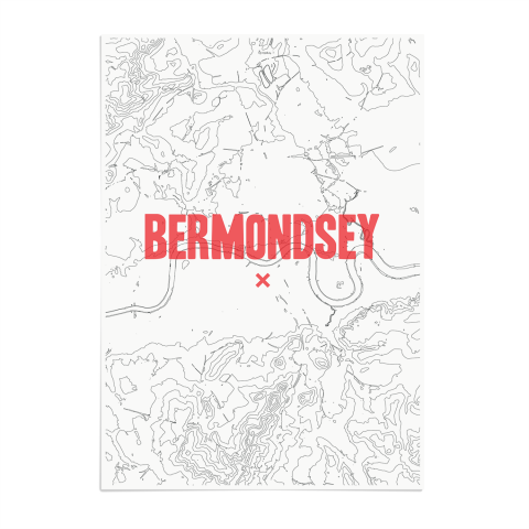 Place in Print Bermondsey Contours Red Art Print Unframed