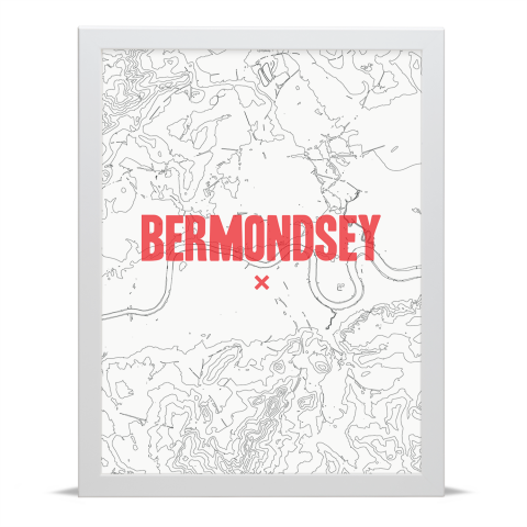 Place in Print Bermondsey Contours Red Art Print White Frame