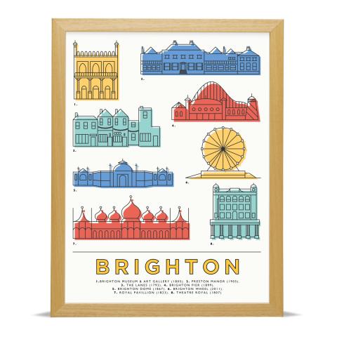 Place in Print East Atlantic Design Brighton Icons Landmarks Art Poster Print Wood Frame