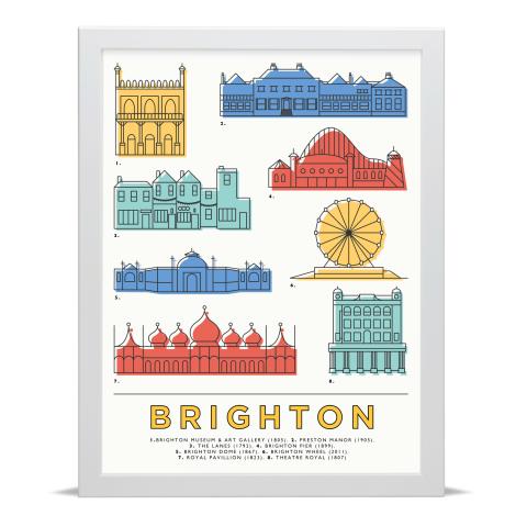 Place in Print East Atlantic Design Brighton Icons Landmarks Art Poster Print White Frame