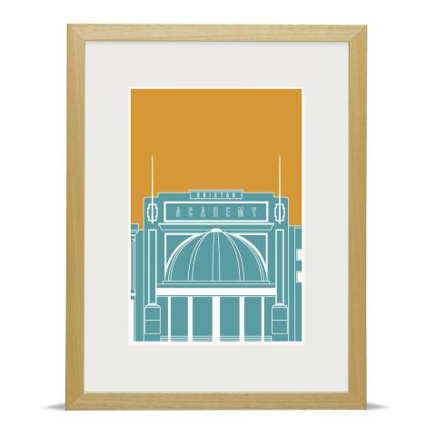 Brixton Academy Blueprint Blue Gold Wood Frame