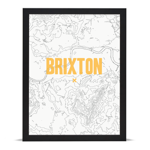 Place in Print Brixton Contours Gold Art Print Black Frame
