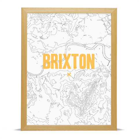 Place in Print Brixton Contours Gold Art Print Wood Frame