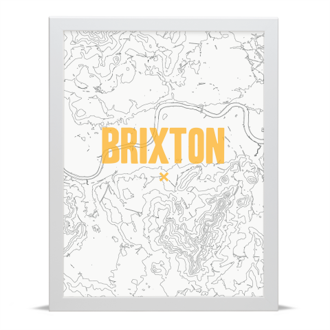 Place in Print Brixton Contours Gold Art Print White Frame