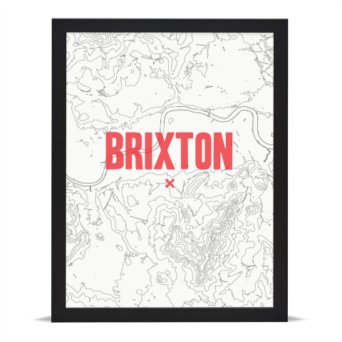 Place in Print Brixton Contours Red Art Print Black Frame