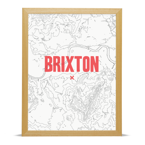 Place in Print Brixton Contours Red Art Print Wood Frame