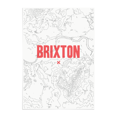 Place in Print Brixton Contours Red Art Print Unframed