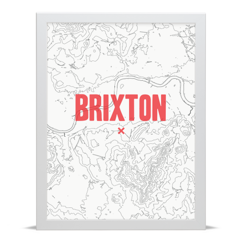 Place in Print Brixton Contours Red Art Print White Frame