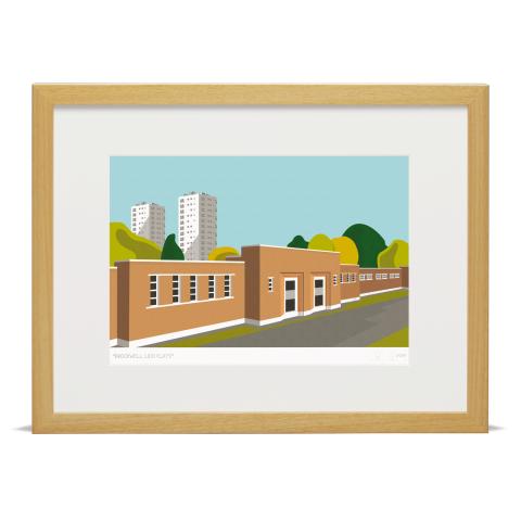 Brockwell Lido Flats Art Poster Print Wood Frame