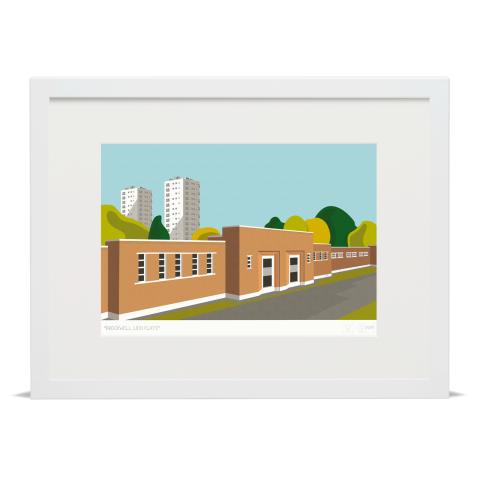 Brockwell Lido Flats Art Poster Print White Frame