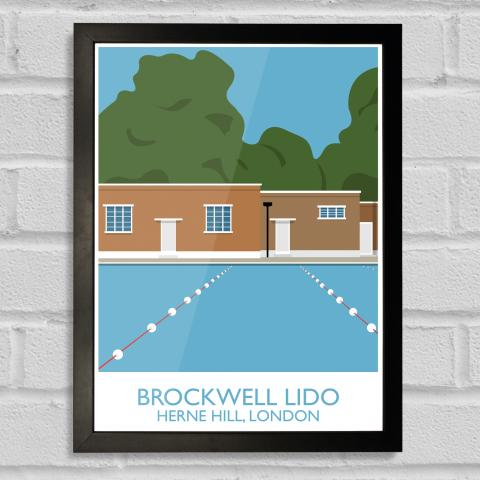 South London Prints Brockwell Lido Landmark Art Print Poster Black Frame