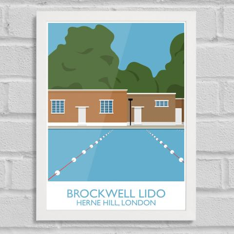 South London Prints Brockwell Lido Landmark Art Print Poster White Frame