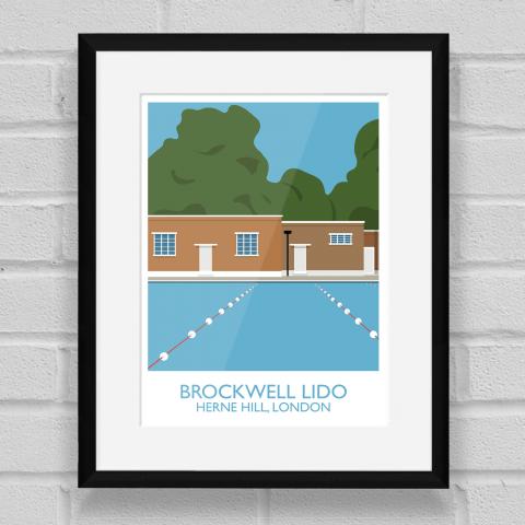 Brockwell Lido Landmark Art Poster Print Black Frame