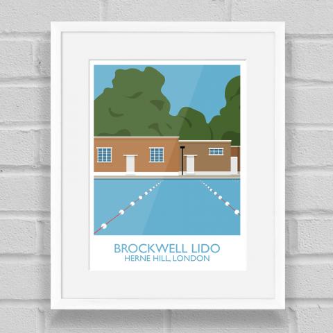 Brockwell Lido Landmark Art Poster Print White Frame