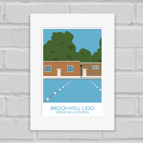 Brockwell Lido Landmark Art Poster Print Mounted