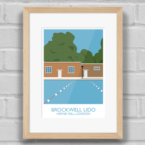 Brockwell Lido Landmark Art Poster Print Wood Frame