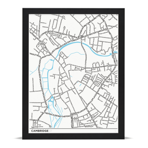Place in Print Cambridge Type Typography Map Art Print Black Frame