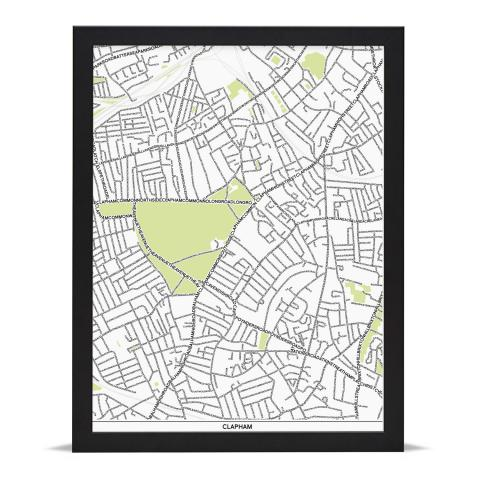 Place in Print Clapham Type Map Art Poster Print Black Frame