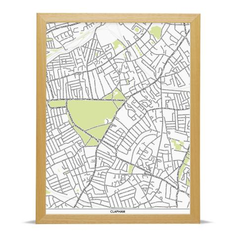Place in Print Clapham Type Map Art Poster Print Wood Frame