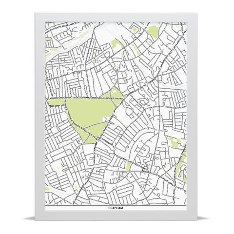 Place in Print Clapham Type Map Art Poster Print White Frame