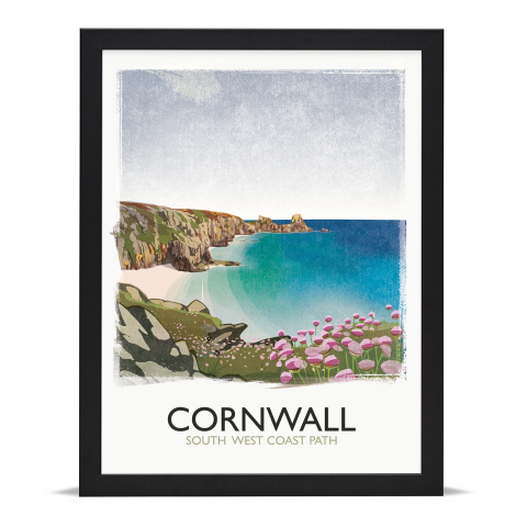 Place in Print Rick Smith Cornwall01 Travel Poster Art Print 30x40cm Black Frame